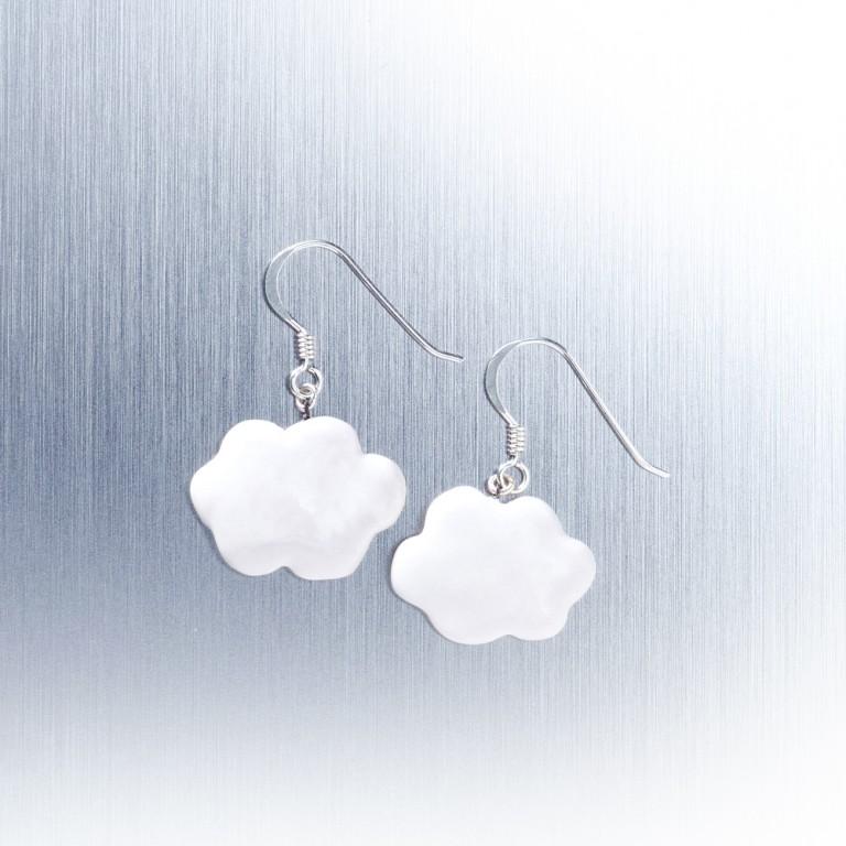 小白雲-手工白瓷純銀耳環