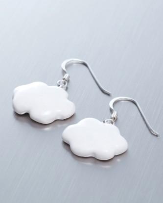 小白雲-手工白瓷純銀耳環2