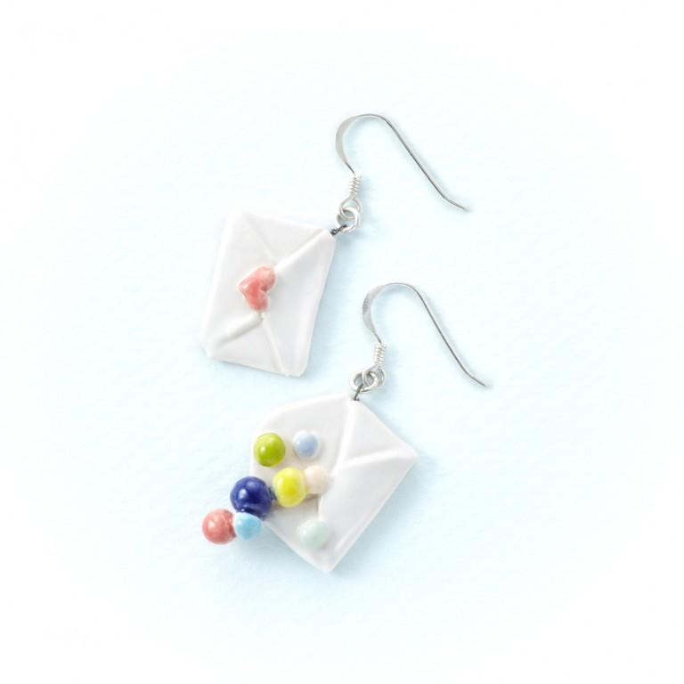 情書-手工白瓷純銀耳環