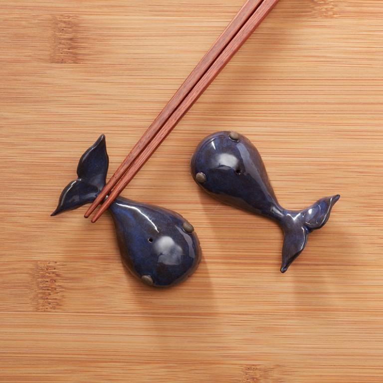 手工陶作-一對對《鯨魚》黑陶筷架3