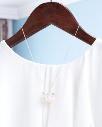 飛翔-手工白瓷純銀頸鏈2